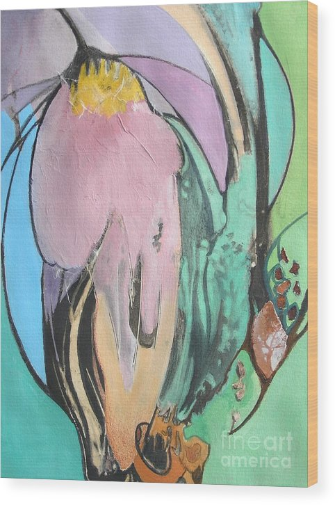 Abstract Wood Print featuring the painting Flowers To Seeds by Barbara Couse Wilson