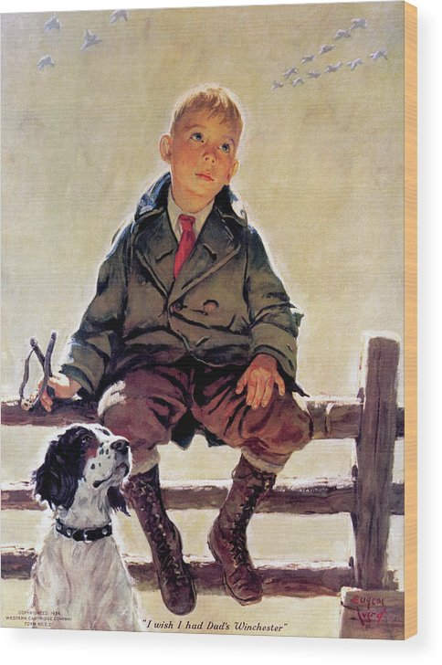 Outdoor Wood Print featuring the painting I Wish I Had Dad's Winchester by Eugene Ivard