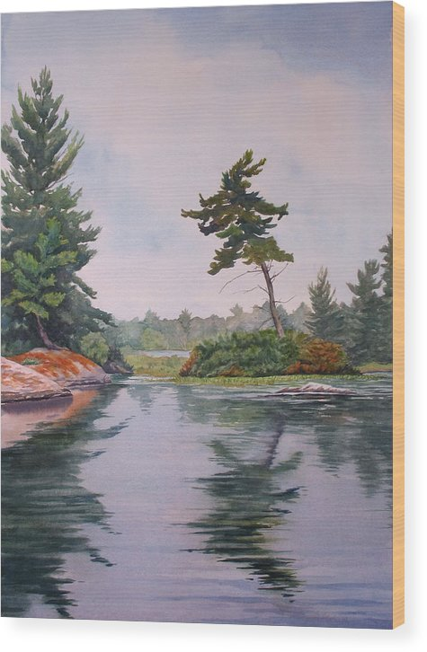Lake Wood Print featuring the painting Lake Reflection by Debbie Homewood