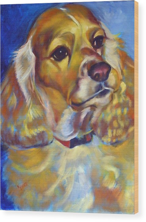 Cocker Spaniel Painting Wood Print featuring the painting Maggie Maye by Kaytee Esser