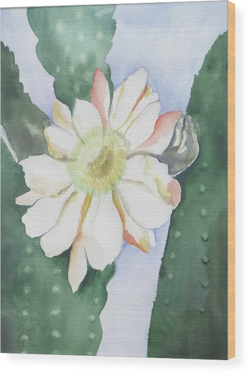Cactus Flower Wood Print featuring the painting Night Bloomers by Kathy Mitchell
