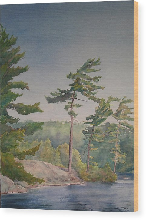 Lake Wood Print featuring the painting O Canada No.1 by Debbie Homewood