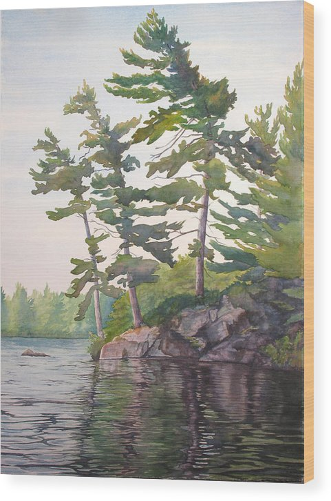 Rocks Wood Print featuring the painting O Canada No.2 by Debbie Homewood