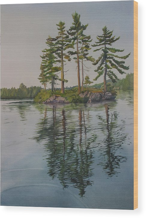 Lake Wood Print featuring the painting Picnic Island At Dawn by Debbie Homewood