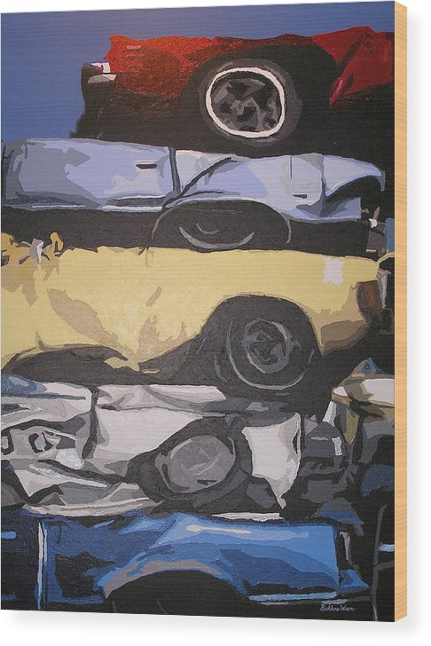 Cars Wood Print featuring the painting Reunited by Ricklene Wren