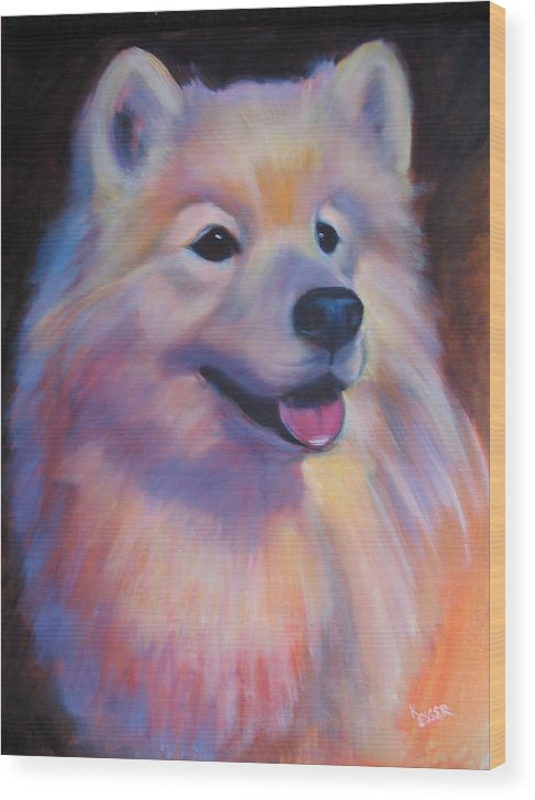 Samoyed Painting Wood Print featuring the painting Samoyed by Kaytee Esser