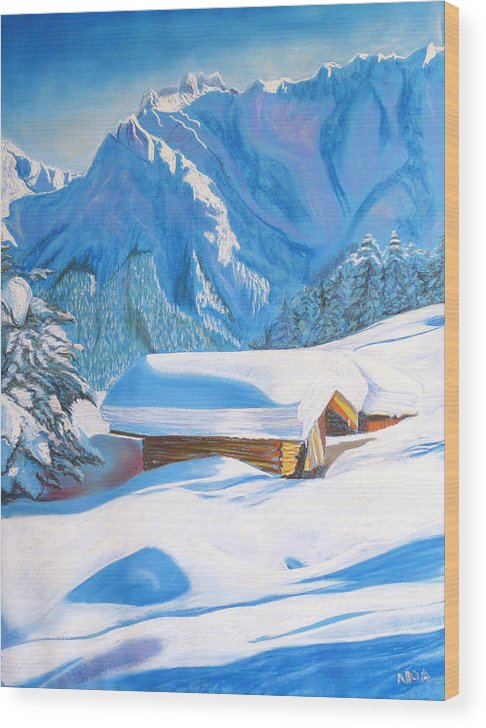 Snow Wood Print featuring the pastel The Alpine Hut by Aymeric NOA