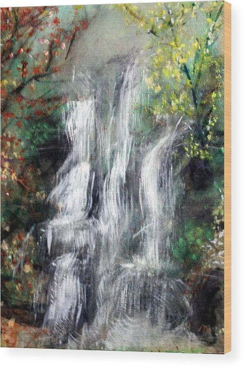Landscape Wood Print featuring the painting Woodland Falls by Michela Akers