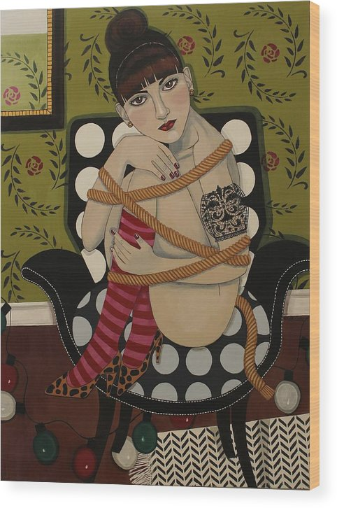 Portrait Wood Print featuring the painting You Can't Hold Me Back by Stephanie Cohen