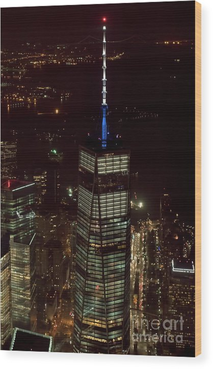 One World Trade Center Wood Print featuring the photograph One World Trade Center In New York City by David Oppenheimer