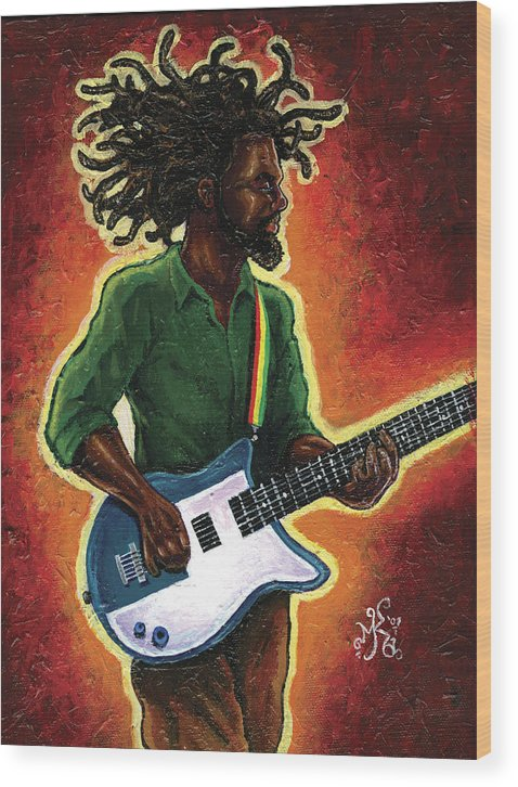 Guitar Wood Print featuring the painting Electric by Marcus Anderson