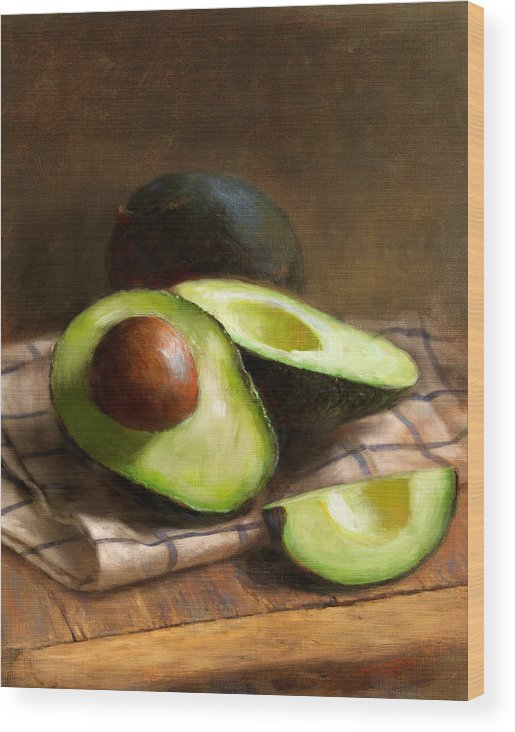 Avocado Wood Print featuring the painting Avocados by Robert Papp