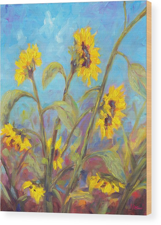 Sunflower Wood Print featuring the painting Bathing Beauties by Jeff Pittman