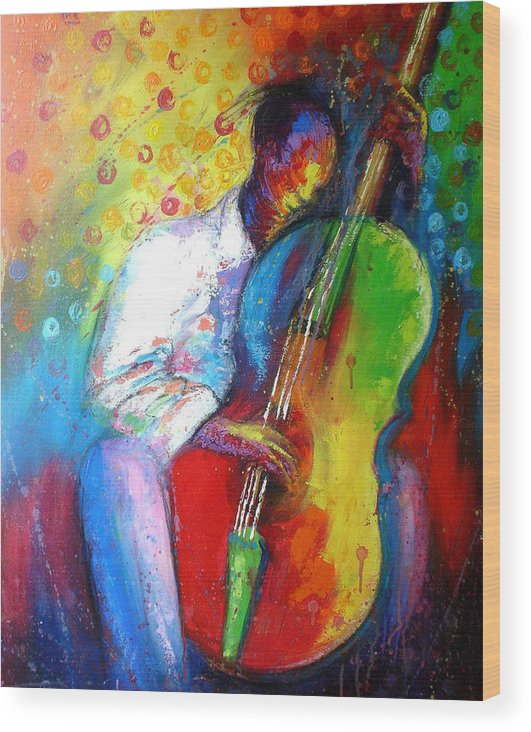 Tunde Wood Print featuring the painting Chilln by Tunde Afolayan-Famous