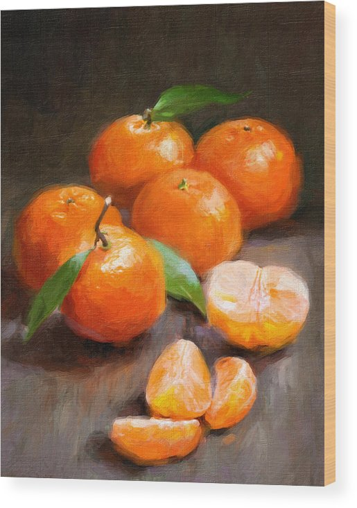 Tangerines Wood Print featuring the painting Tangerines by Robert Papp