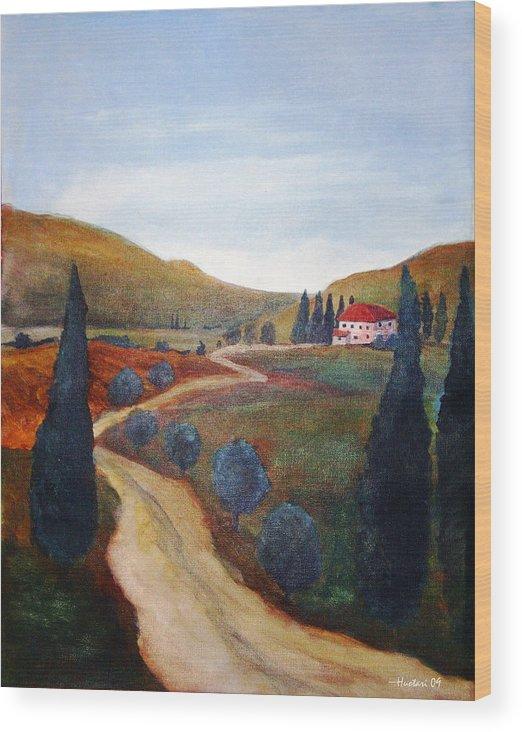 Rick Huotari Wood Print featuring the painting Tuscan Farmhouse by Rick Huotari