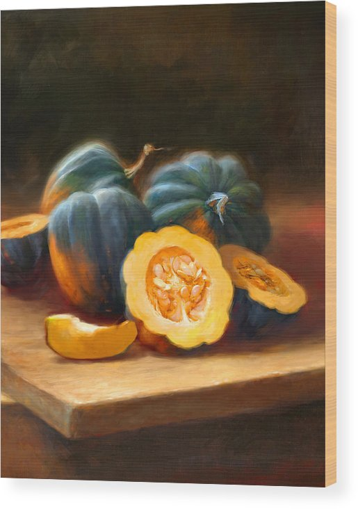 Acorn Squash Wood Print featuring the painting Acorn Squash by Robert Papp