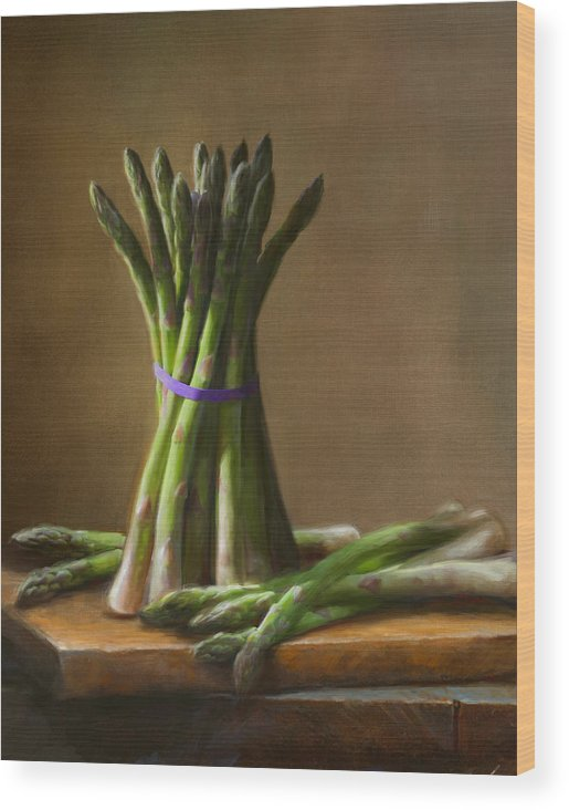 Robert Papp Wood Print featuring the painting Asparagus by Robert Papp