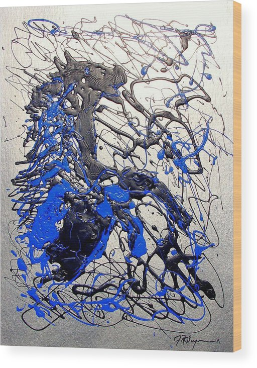 Abstract/impressionist Art Wood Print featuring the painting Azul Diablo by J R Seymour