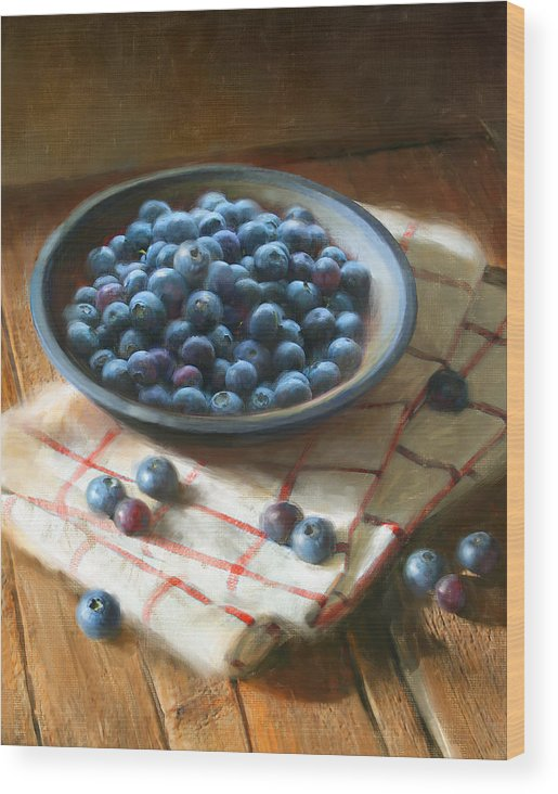 Blueberries Wood Print featuring the painting Blueberries by Robert Papp