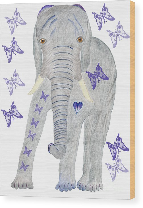 Elephant Wood Print featuring the painting Brandy and the Butterflies by Tess M J Iroldi