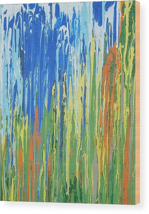 Abstract Expressionism Wood Print featuring the painting Colorado Aspens by Ernie Ferguson
