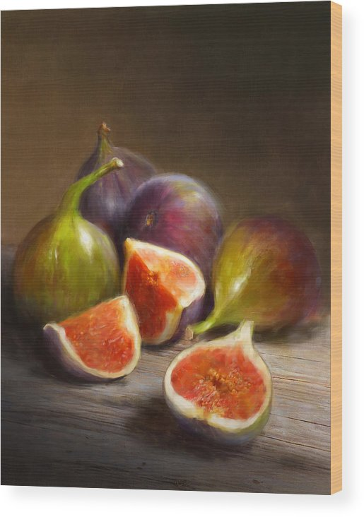 Figs Wood Print featuring the painting Figs by Robert Papp