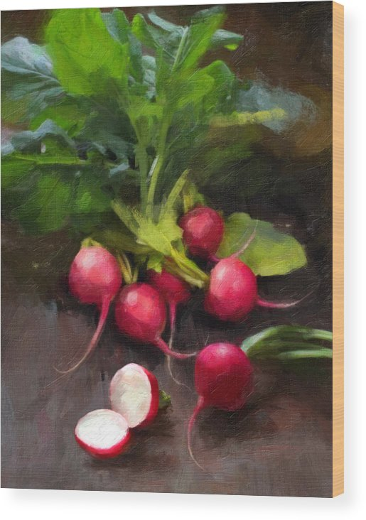 Radishes Wood Print featuring the painting Fresh Radishes by Robert Papp