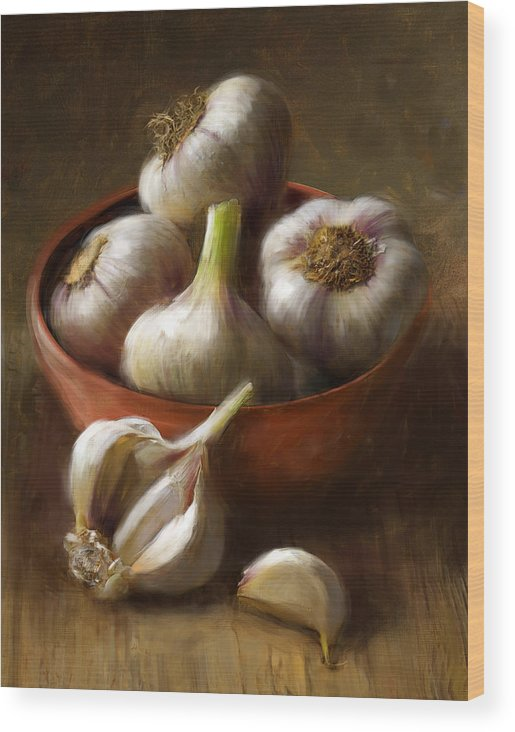 Garlic Wood Print featuring the painting Garlic by Robert Papp