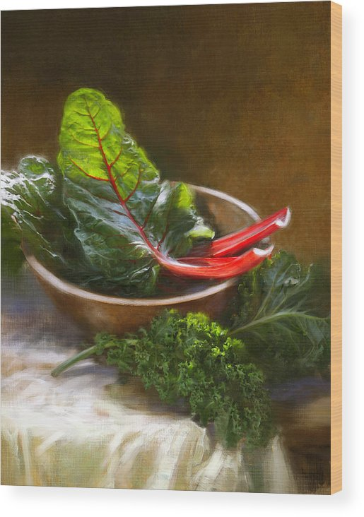 Vegetables Wood Print featuring the painting Hearty Greens by Robert Papp