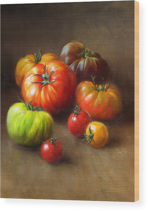 Tomato Wood Print featuring the painting Heirloom Tomatoes by Robert Papp