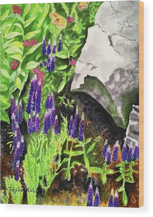 Landscape Wood Print featuring the painting Hidden Treasures by Judy Swerlick