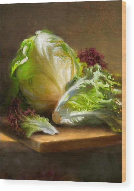 Lettuce Wood Print featuring the painting Lettuce by Robert Papp