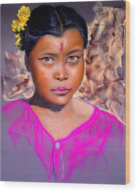 Nepal Wood Print featuring the painting Nepalese Girl by David Horning