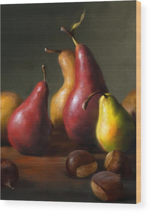 Pears Wood Print featuring the painting Pears with Chestnuts by Robert Papp