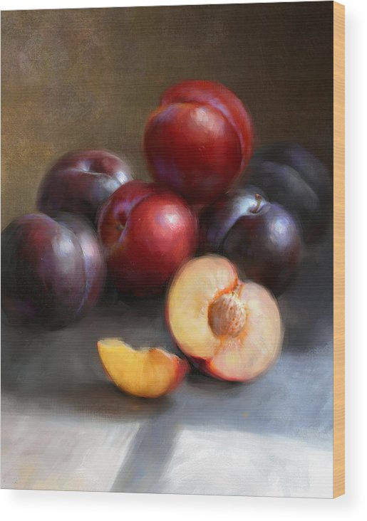 Plums Wood Print featuring the painting Red and Black Plums by Robert Papp