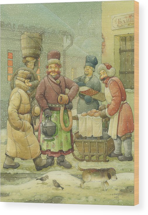 Russian Winter Wood Print featuring the painting Russian Scene 04 by Kestutis Kasparavicius