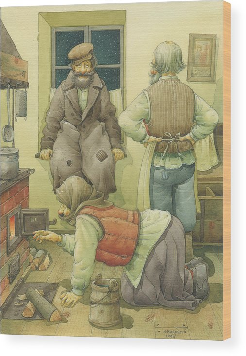 Russian Winter Wood Print featuring the painting Russian Scene 05 by Kestutis Kasparavicius