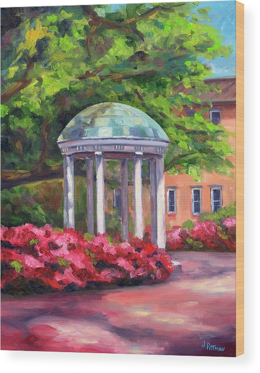 University Of North Carolina At Chapel Hill Wood Print featuring the painting The Old Well UNC by Jeff Pittman