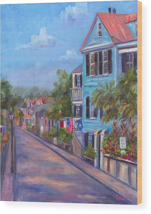 Charleston Street Scene South Carolina Homes Houses Historic District Low Country Art Painting Prints Colorful Houses Wood Print featuring the painting Water Street in Charleston by Jeff Pittman
