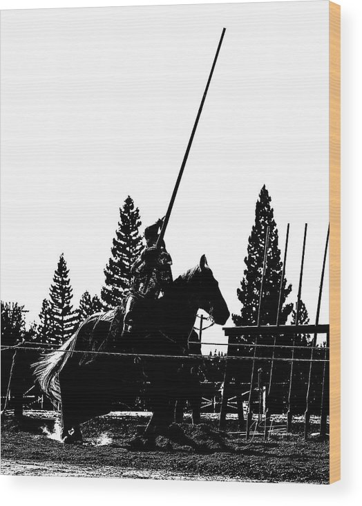 Equine Wood Print featuring the photograph Knight Silhouette 02 by Jim Thompson