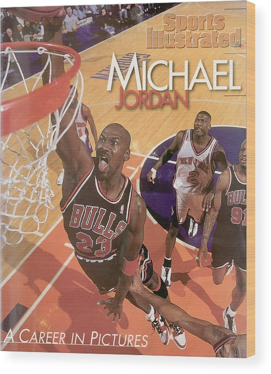 Nba Pro Basketball Wood Print featuring the photograph Michael Jordan A Career In Pictures Sports Illustrated Cover by Sports Illustrated