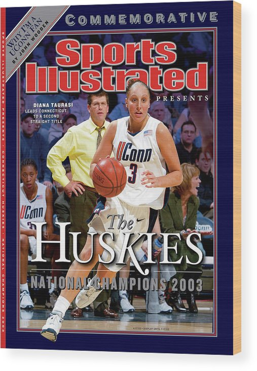 Looking Wood Print featuring the photograph University Of Connecticut Diana Taurasi, 2003 Ncaa Womens Sports Illustrated Cover by Sports Illustrated