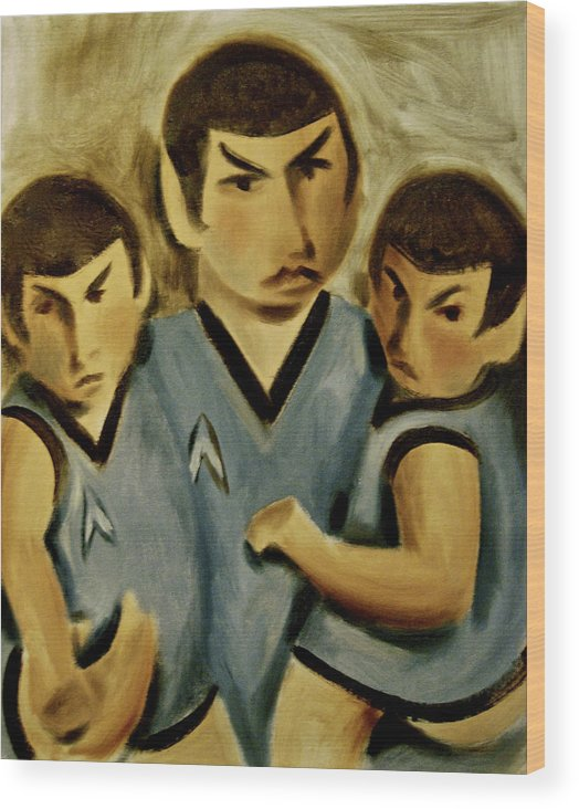 Spock Twins Wood Print featuring the painting Spock Twins Art Print by Tommervik