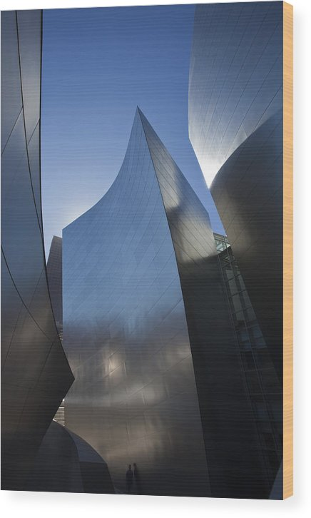 Architecture Wood Print featuring the photograph Blue and Silver Curves 1 by Geoff Scott