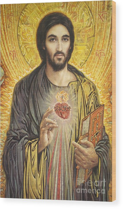 Sacred Heart Of Jesus Wood Print featuring the painting Sacred Heart of Jesus olmc by Smith Catholic Art