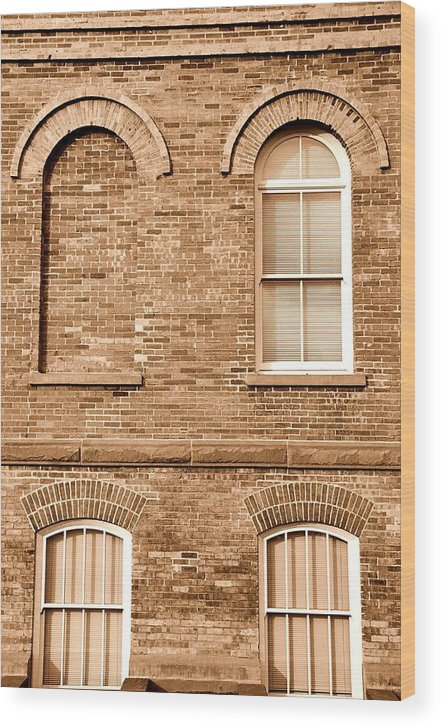 Architecture Wood Print featuring the photograph 3 Quarters Sepia by Caroline Clark