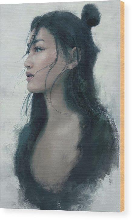 Warrioress Wood Print featuring the painting Blue Portrait by Eve Ventrue