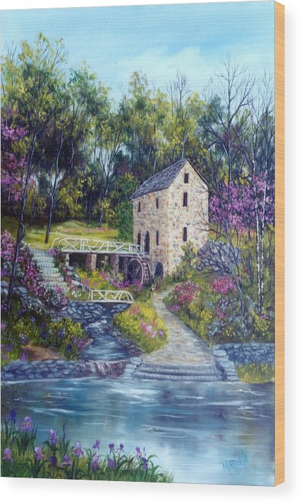 Landscape Wood Print featuring the painting OLD MILL  Spring by Marveta Foutch