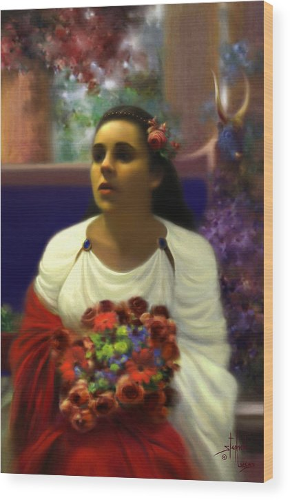 Goddess Wood Print featuring the digital art Priestess of the Floral Temple by Stephen Lucas